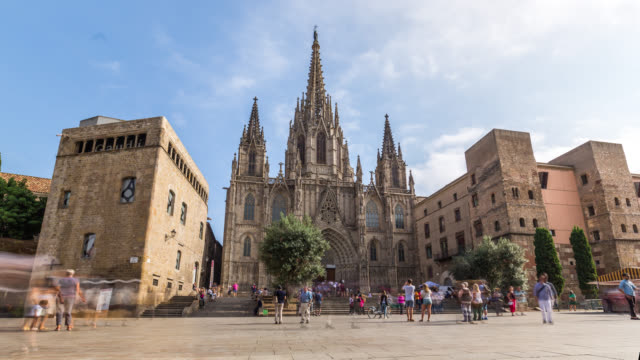 timelapse of the cathedral of the holy cross and saint eulalia of barcelona. spain, 2016. - gothic quarter barcelona stock videos and b-roll footage