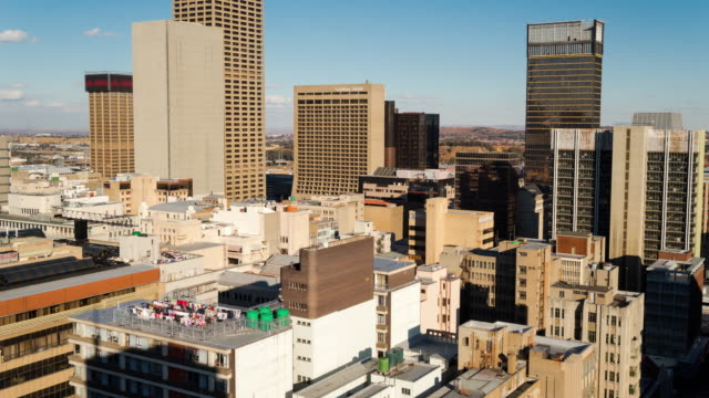 Timelapse of the city centre of Johannesburg showing the Carlton Tower and Carlton Hotel with Ghandi Square in the background