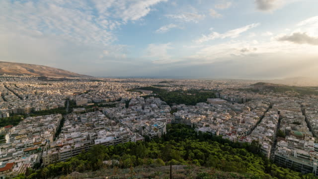 Timelapse of the city of Athens in a sunny day