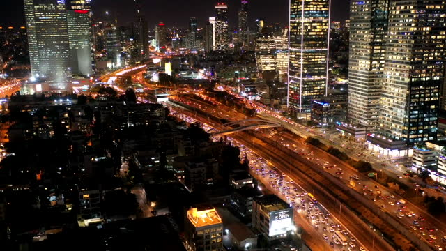 timelapse of the city of tel aviv at night - israel stock videos & royalty-free footage