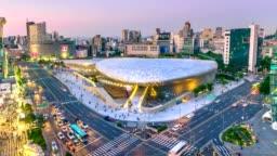 4K Timelapse of the city Seoul at night, South Korea,