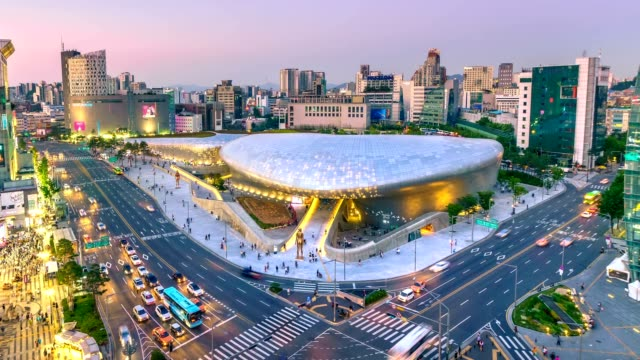 4k timelapse of the city seoul at night, south korea, - korea stock videos & royalty-free footage