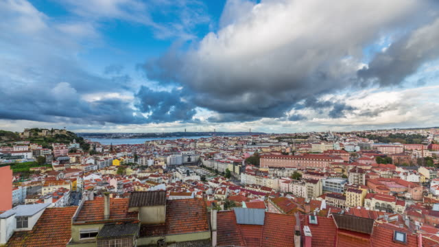 Timelapse of the clouds over the Lisbon cityscape (Baixa district) and 25th of April Bridge. Portugal. April, 2017