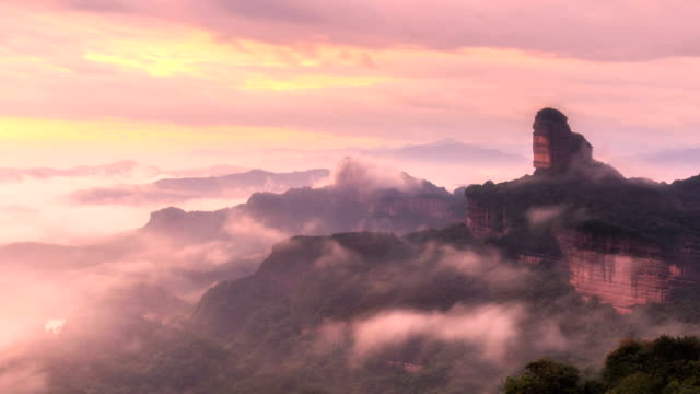 timelapse of the danxia mountain - natural landmark stock videos & royalty-free footage