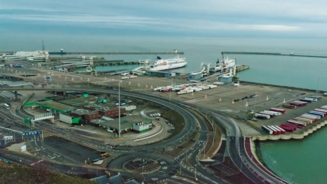 time-lapse of the docks at dover, england - dover england stock videos and b-roll footage