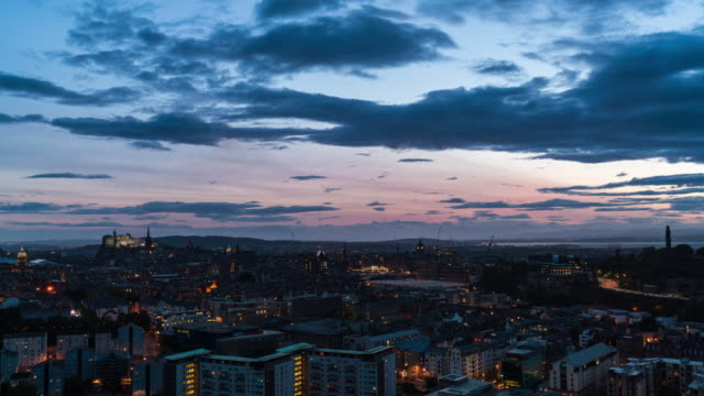 Timelapse of the Edinburgh skyline after sunset