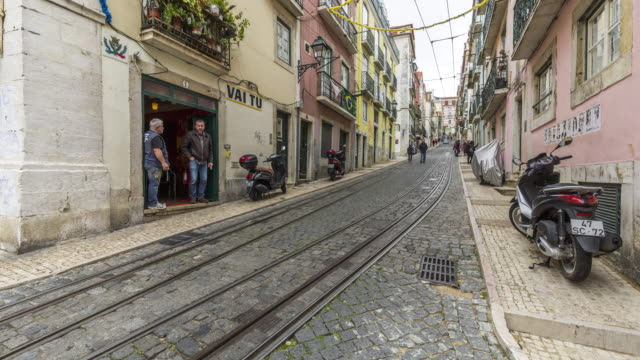 Timelapse of the famous Bica Funicular in Lisbon. Portugal. April, 2017