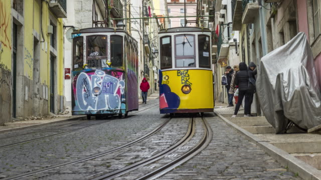 Timelapse of the famous funiculars of Bica on the street of Lisbon, Portugal. April, 2017