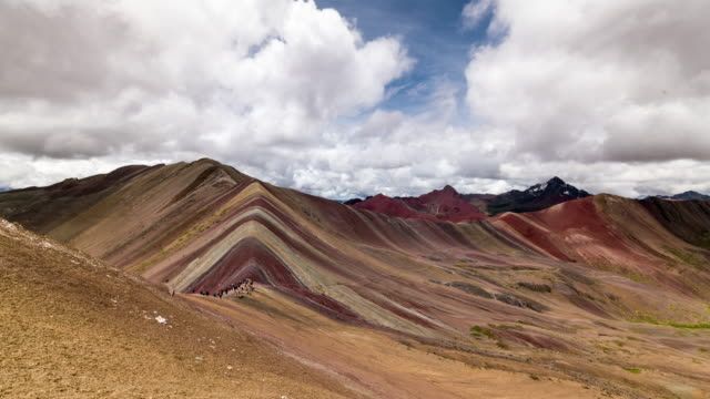 timelapse of the famous rainbow mountains - peru stock videos & royalty-free footage
