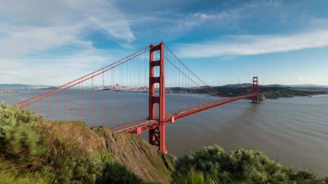 san francisco: timelapse of the golden gate bridge from above - golden gate bridge stock-videos und b-roll-filmmaterial