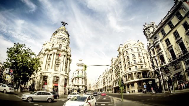timelapse of the gran via in madrid, spain - madrid stock videos and b-roll footage