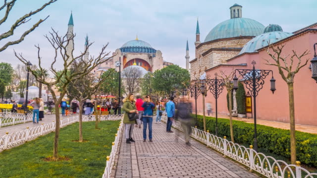 time-lapse of the hagia sophia mosque in old town square istanbul , turkey - blue mosque stock videos & royalty-free footage