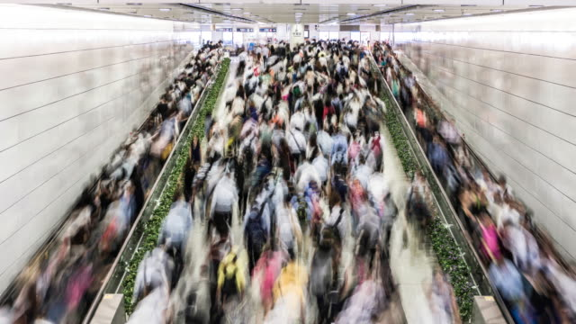 vídeos de stock e filmes b-roll de timelapse of the hong kong subway during rush hour - diário