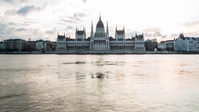 Timelapse of the Hungarian Parliament Building from across the Danube in Budapest Hungary on Monday February 8 2016