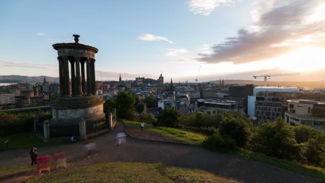 Timelapse of the Iconic Edinburgh Skyline during dusk