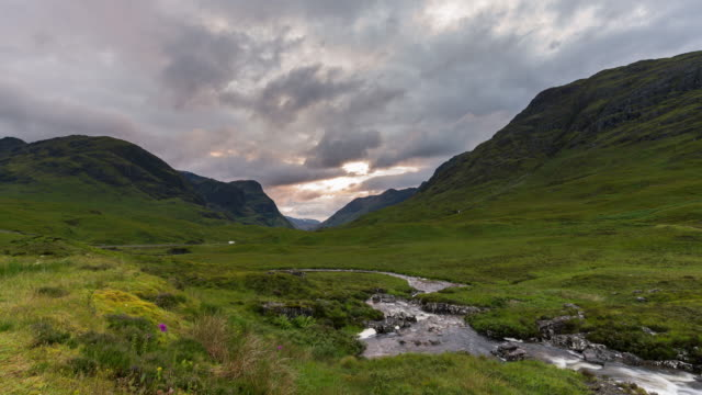 timelapse of the iconic glencoe - scottish highlands stock videos and b-roll footage
