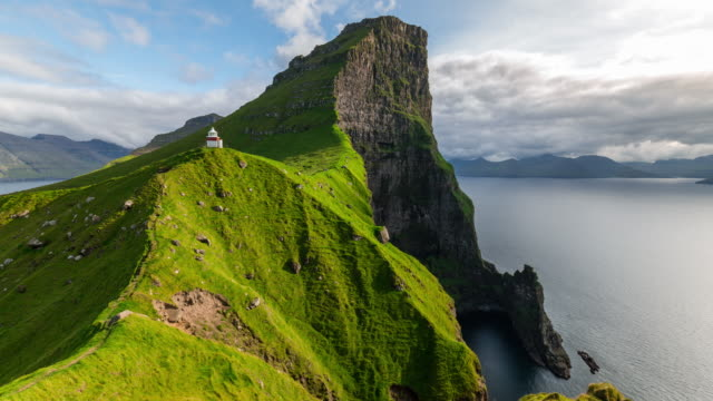 Timelapse of the Iconic lighthouse Faroe Island in Kalsoy