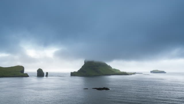 Timelapse of the iconic Tindhólmur rock formation in the Faroe Island