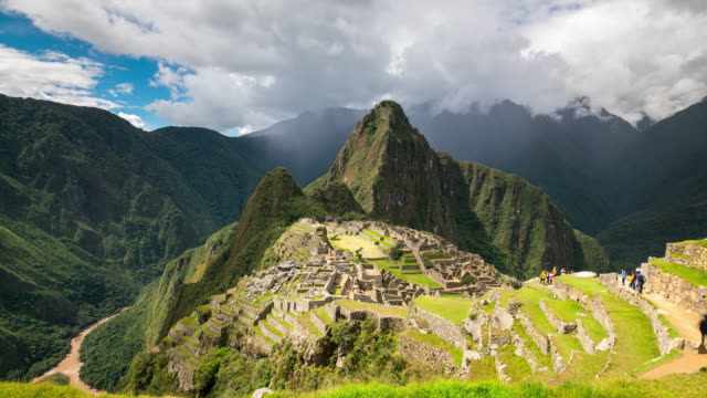 timelapse of the iconic view in machu picchu - machu picchu stock videos & royalty-free footage