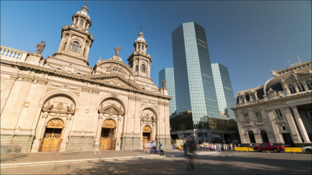 timelapse of the main square of santiago de chile - chile stock videos & royalty-free footage