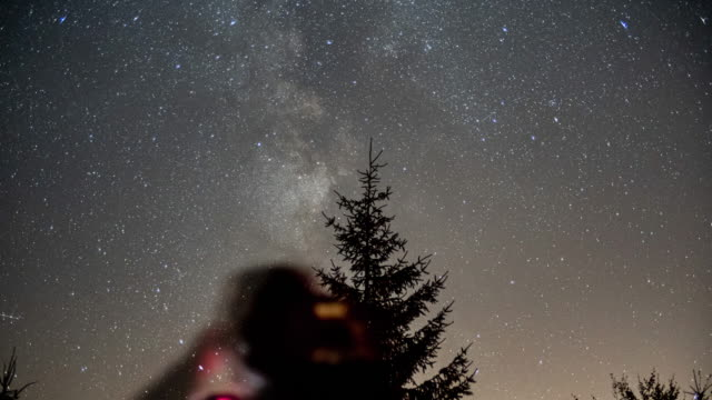 timelapse of the milky way from germany - binoculars stock videos & royalty-free footage