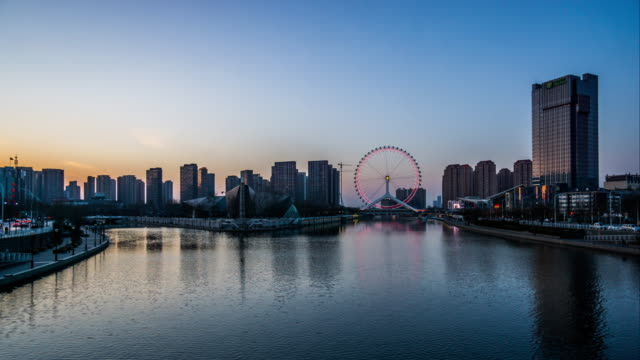 Timelapse of the modern Cityscape near financial district,Tianjin,China