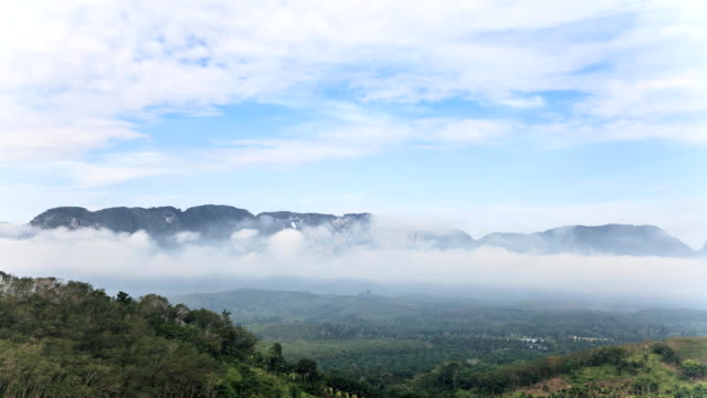 Time-lapse of the mountains landscape with moving fog and clouds in Thailand.