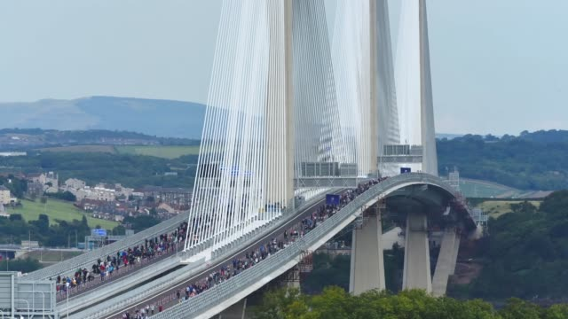 A timelapse of the new Queensferry Crossing road bridge over the Forth Estuary from Inverkeithing to South Queensferry on August 31 2017 in South...