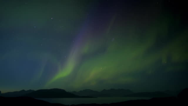 Time-lapse of the Northern Lights seen over a remote area of Greenland.