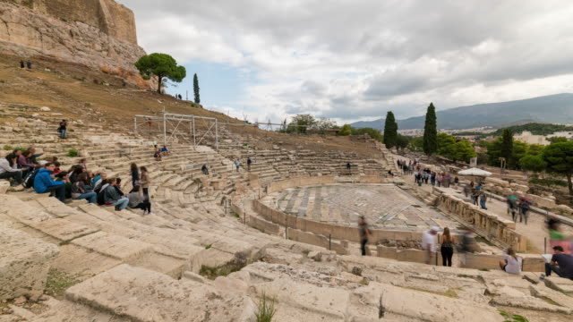 timelapse of the old amphitheatre in athens - antiquities stock videos & royalty-free footage