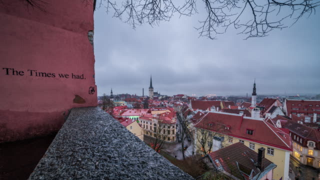 timelapse of the old town in tallinn in a raining day - estonia stock videos & royalty-free footage