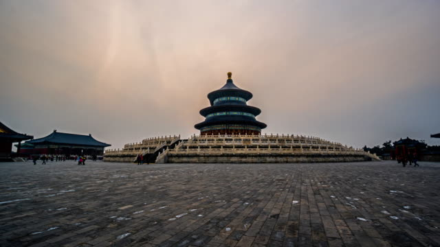 Timelapse of the  Palace in the Temple of Heaven at sunset, Beijing, China.