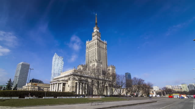 timelapse of the palace of culture and science in warsaw, poland. april, 2017. - warsaw stock videos and b-roll footage