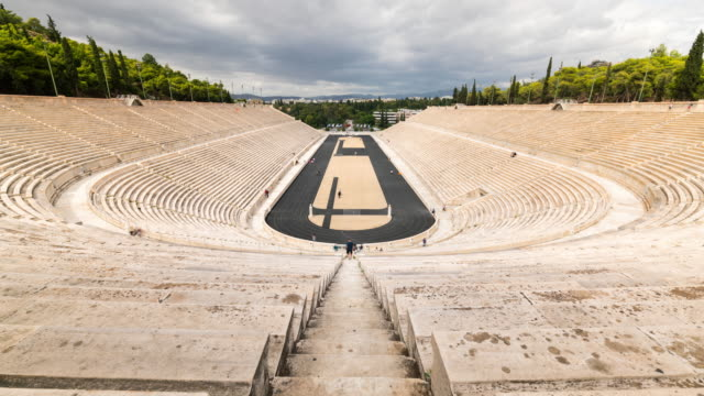 timelapse of the panathenaic stadiumin athens - the olympic games stock videos & royalty-free footage
