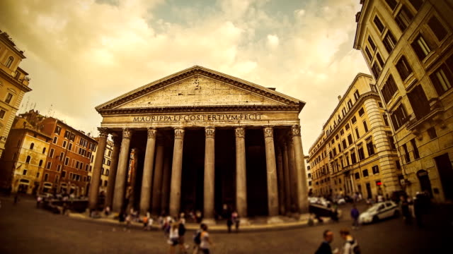 timelapse of the pantheon pagan temple in rome - pantheon rome stock videos and b-roll footage