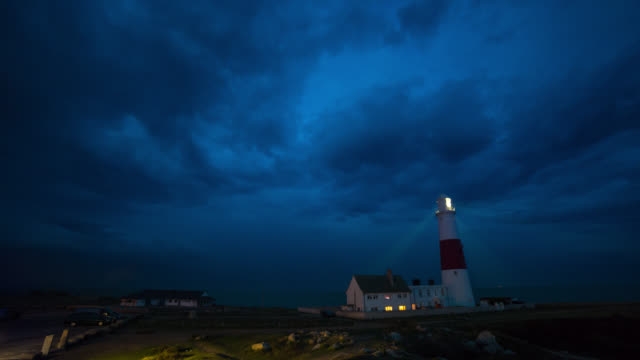 PORTLAND - TL: TimeLapse of the Portland lighthouse town in Dorset before a storm