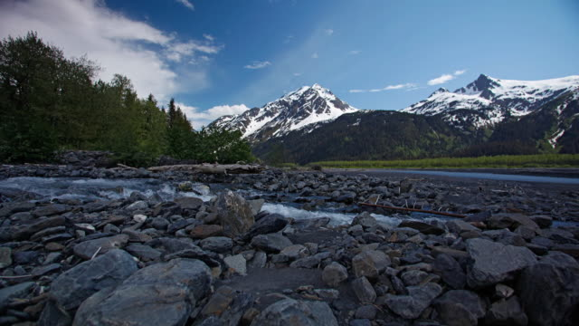 time-lapse of the resurrection river valley, chugach national forest, near seward, alaska. - chugach national forest stock videos & royalty-free footage