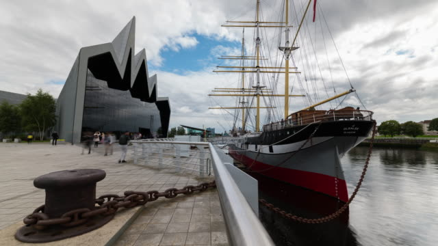 timelapse of the riverside museum of transport and technology, glasgow - museum stock videos & royalty-free footage