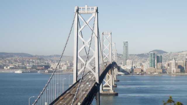 Time-lapse of the San Francisco Bay Bridge and City Skyline viewed from Treasure Island, San Francisco, California, United States of America