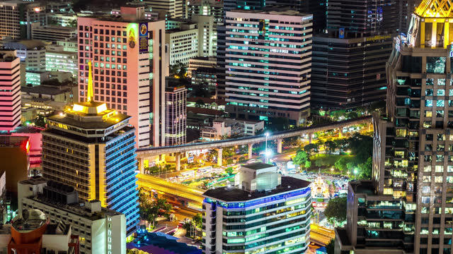 timelapse of the silom area of bangkok thailand - 2013 stock videos & royalty-free footage