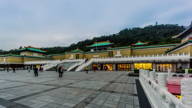 timelapse of the taipei national palace museum, taiwan, china - national palace museum taipei stock videos & royalty-free footage