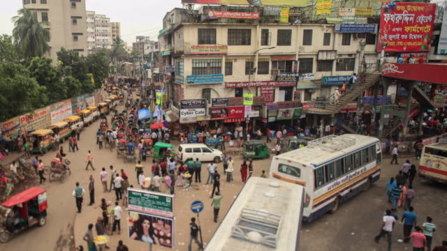 timelapse of the traffic in dhaka city center - dhaka stock videos & royalty-free footage