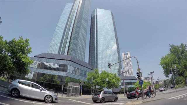 Timelapse of the twin tower skyscraper headquarters of Deutsche Bank AG in Frankfurt Germany on Saturday June 6 2015