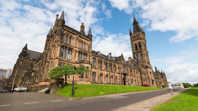 vídeos de stock e filmes b-roll de timelapse of the university of glasgow, scotland - glasgow escócia