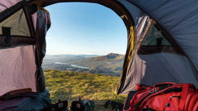 Timelapse of the view from a tent in the Scottish Highlands
