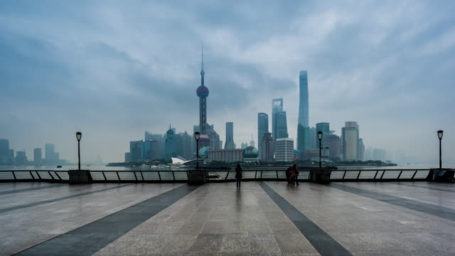 timelapse of the visitors at the bund in shanghai, china - the bund stock videos & royalty-free footage