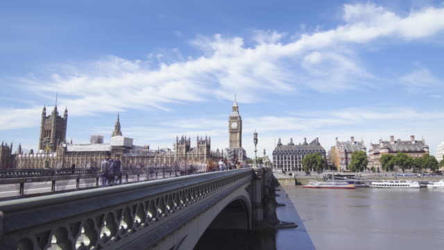 timelapse of the westminster bridge - river thames stock videos & royalty-free footage