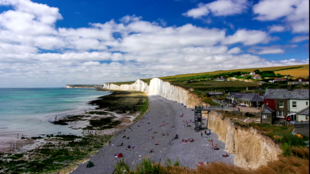 Timelapse of the White chalk Cliffs at famous Seven Sisters in Sussex, UK during summer