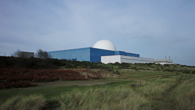 timelapse of the white dome of sizewell b pressurised water reactor nuclear power station - nuclear reactor stock videos and b-roll footage