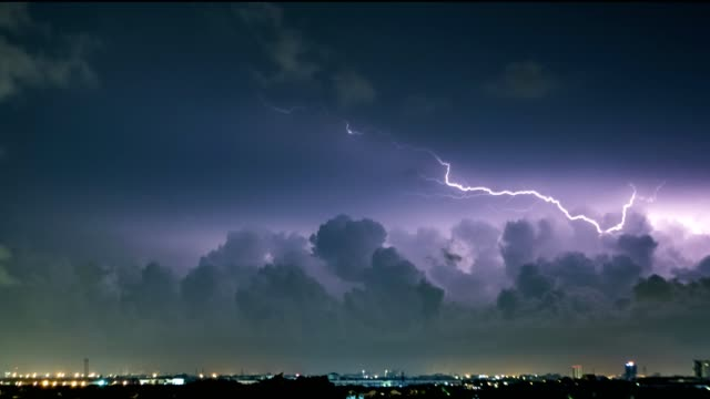 Time-lapse of Thunderstorm clouds, thunder at night with lightning, under stormy